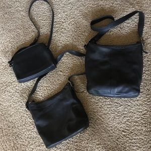 Lot of 3 black vintage coach leather bags